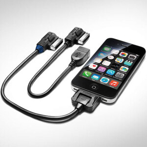 Adapter cable set for the Audi music interface, for Apple devices with a dock connector and USB, blue grommet