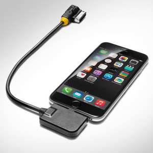 Adapter cable for the Audi music interface, for mobile devices with an Apple Lightning socket, yellow grommet