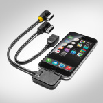 Adapter cable set for the Audi music interface, for mobile devices with an Apple Lightning socket and USB, yellow grommet
