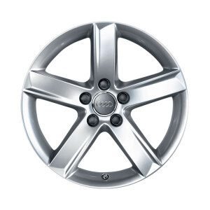 Cast aluminium winter wheel in 5-spoke design, brilliant silver, 7 J x 17