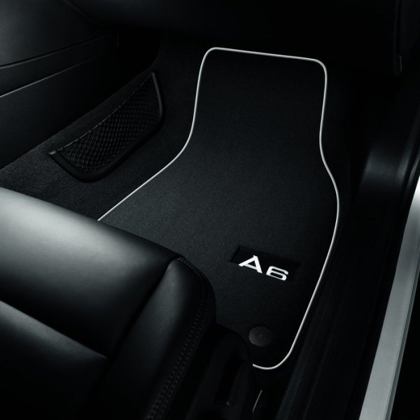 Premium textile floor mats, for the front, black