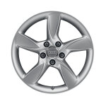 Cast aluminium winter wheel in 5-arm helica design, brilliant silver, 7.5 J x 17