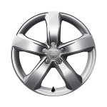 Cast aluminium winter wheel in 5-arm design, brilliant silver, 7.5 J x 18