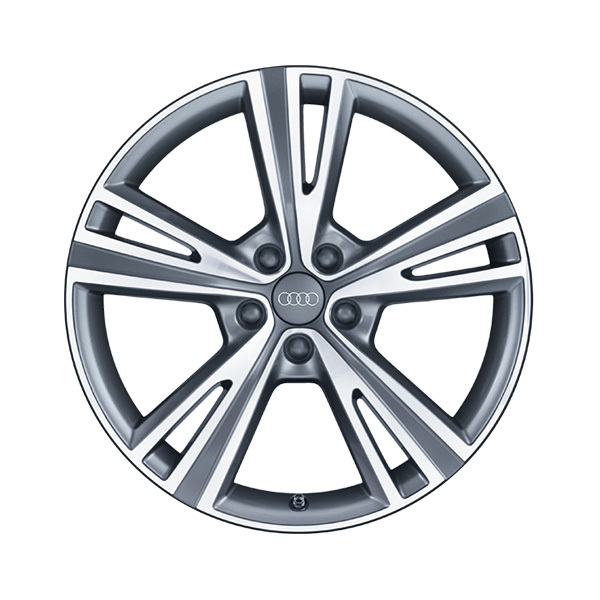 Cast aluminium wheel in 5-semi-V-spoke design, matt black, high-gloss turned finish, 8.5 J x 19
