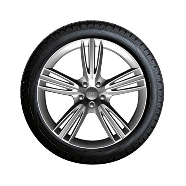 Complete summer wheel in 5-tri-spoke design, anthracite, high-gloss turned finish, 8.5 J x 20, 255/35 R 20 97Y XL
