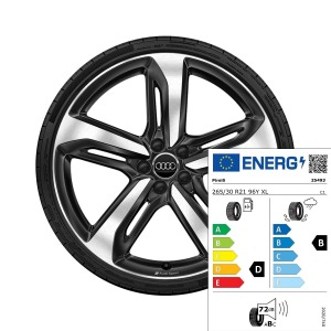 Complete summer wheel in 5-spoke blade design with Audi Sport lettering, black-gloss finish, diamond cut, 9 J x 21, 265/30 R 21 96Y XL