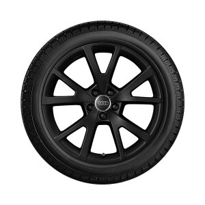 Complete winter wheel in 5-V-spoke design, matt black, 7.5 J x 18, 225/50 R 18 99H XL