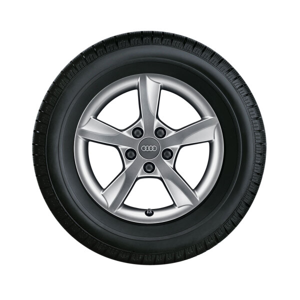 Complete winter wheel in 5-arm rotor design, brilliant silver, 7.5 J x 16, 225/60 R 16 98H