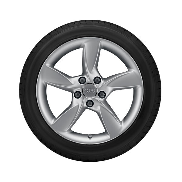 Complete winter wheel in 5-arm helica design, brilliant silver, 7.5 J x 17, 225/55 R17 97H