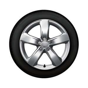 Complete winter wheel in 5-arm design, brilliant silver, 7.5 J x 18, 225/50 R18 99H XL, right