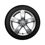 Complete winter wheel in 5-arm design, brilliant silver, 7.5 J x 18, 225/50 R 18 99H XL, right