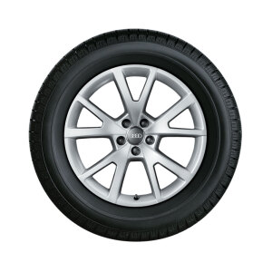 Complete winter wheel in 5-V-spoke design, brilliant silver, 7.5 J x 18, 225/50 R 18 99H XL, left