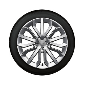 Complete winter wheel in 15-spoke star design, brilliant silver, 7.5 J x 19, 235/45 R 19 99V XL, left