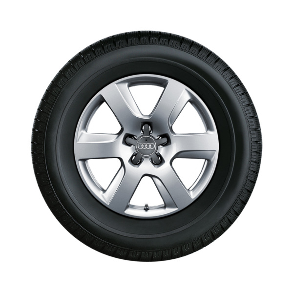 Complete winter wheel in 6-arm design, forged, brilliant silver, 7 J x 17, 235/55 R 17 99H