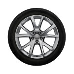 Complete winter wheel in 5-V-spoke design, brilliant silver, 8 J x 19, 235/45 R 19 99V XL, right
