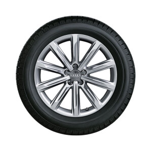 Complete winter wheel in 10-spoke design, brilliant silver, 8 J x 19, 235/45 R 19 99V XL, left