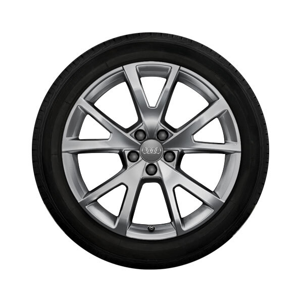 Complete winter wheel in 5-V-spoke design, brilliant silver, 8 J x 19, 235/45 R 19 99V XL, left