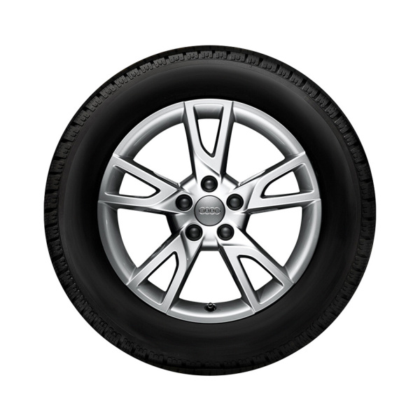 Complete winter wheel in 5-arm semi-Y design, brilliant silver, 7 J x 18, 235/55 R 18 100H, right