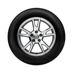 Complete winter wheel in 5-arm semi-Y design, brilliant silver, 7 J x 18, 235/55 R 18 100H, left