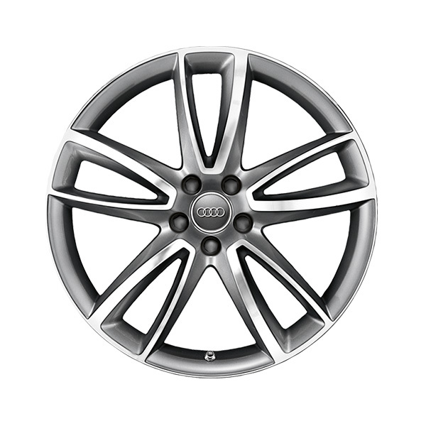 Cast aluminium wheel in 5-arm parabola design, anthracite, high-gloss turned finish, 9 J x 20