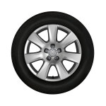 Complete winter wheel in 7-arm design, brilliant silver, 7.5 J x 18, 235/55 R 18 104H XL, right