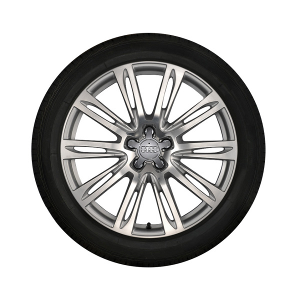 Complete winter wheel in 10-parallel-spoke design, brilliant silver, 9 J x 20, 265/40 R 20 104V, left