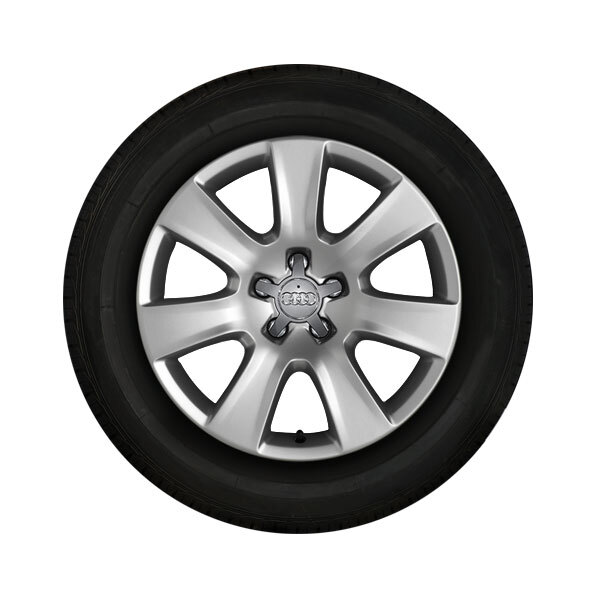 Complete winter wheel in 7-arm design, brilliant silver, 7.5 J x 18, 235/55 R 18 104H XL, left