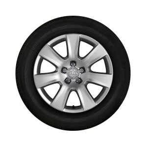 Complete winter wheel in 7-arm design, brilliant silver, 7.5 J x 18, 235/55 R18 104H XL, left