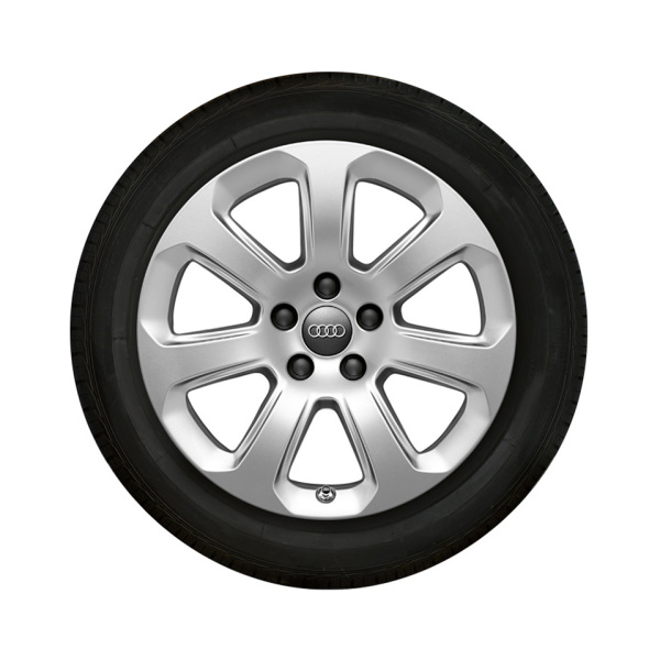 Complete winter wheel in 7-arm design, brilliant silver, 7.5 J x 17, 235/60 R17 102H, left