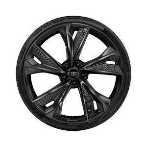 Cast aluminium winter wheel in 5-V-spoke structured design, black-gloss finish, 10.5 J x 22