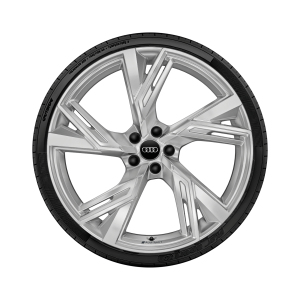 Cast aluminium winter wheel in 5-V-spoke trapeze design, galvanic silver, metallic, 10.5 J x 22