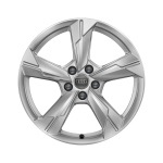 Cast aluminium winter wheel in 5-arm design, brilliant silver, 8 J x 18