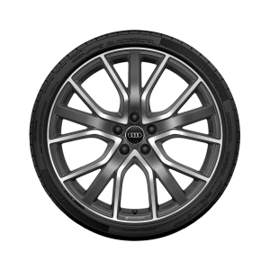 Complete summer wheel in 5-spoke star V design with Audi Sport lettering, contrasting grey, partly polished, 8.5 J x 20, 255/40 R 20 101Y XL