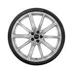 Complete winter wheel in 10-spoke star design, galvanic silver, metallic, 8.5 J x 21, 245/40 R 21 100V XL