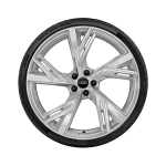 Complete winter wheel in 5-V-spoke trapeze design, galvanic silver, metallic, 10.5 J x 22, 285/30 R 22 101W XL