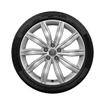 Complete winter wheel in 10-spoke dynamic design, brilliant silver, 8 J x 19, 245/45 R 19 102V XL, right