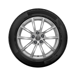 Complete winter wheel in 10-spoke design, brilliant silver, 7.5 J x 17, 225/60 R17 99H, left