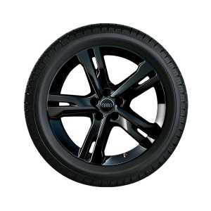 Complete winter wheel in 5-arm ramus design, black-gloss finish, 8 J x 19, 245/45 R19 102V XL, left
