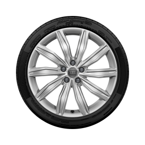 Complete winter wheel in 10-spoke dynamic design, brilliant silver, 8 J x 19, 245/45 R 19 102V XL, left