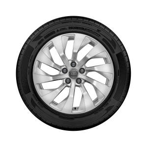 Complete winter wheel in 10-arm turbine design, brilliant silver, 8 J x 18, 225/55 R 18 102V XL, right