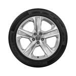 Complete winter wheel in 5-arm dynamic design, brilliant silver, 8 J x 19, 245/45 R 19 102V XL, right