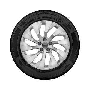 Complete winter wheel in 10-arm turbine design, brilliant silver, 8 J x 18, 225/55 R18 102V XL, left
