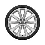 Complete winter wheel in 10-spoke V design, brilliant silver, 8.5 J x 20, 245/45 R 20 103W XL, right