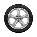 Complete winter wheel in 5-arm design, brilliant silver, 8 J x 18, 235/55 R 18 100H, left