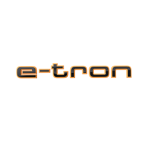 e-tron logo in black on dynamic orange, for the wing