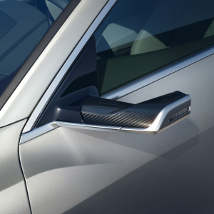 Exterior mirror housing, in carbon, for vehicles with virtual exterior mirror, left