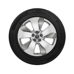 Complete winter wheel in 5-arm aero design with graphic print, brilliant silver, 8 J x 19, 255/55 R 19 111H XL