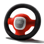 Audi plush steering wheel, grey/red/black
