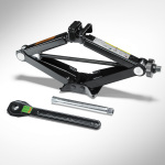 Vehicle jack, for vehicles with a tyre repair kit or a collapsible spare wheel