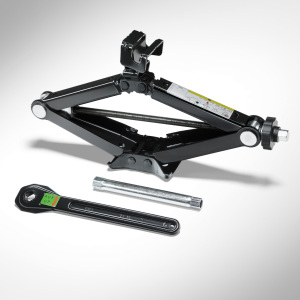 Vehicle jack with bag, for vehicles with a spare wheel